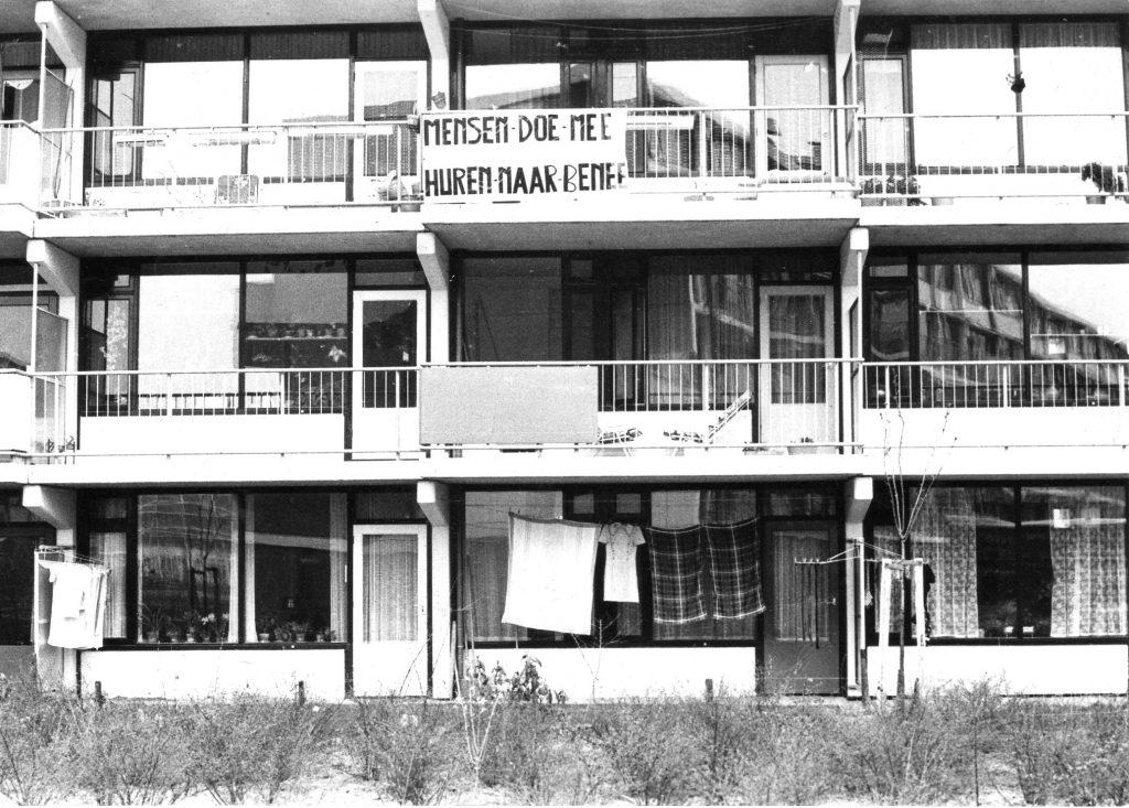 BHW Merenwijk 1974. Actie tegen hoge nieuwbouwhuur